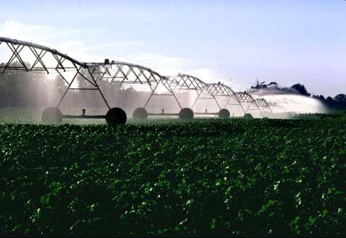 Rising temperatures put stress on crops, forcing farmers to irrigate more heavily. At the same time, rising temperatures are leading to reduced water supplies. Credit: USDA via WikiCommons