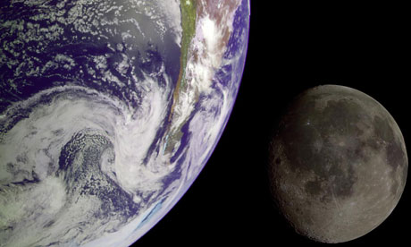 Earth and the moon in a Nasa composite image