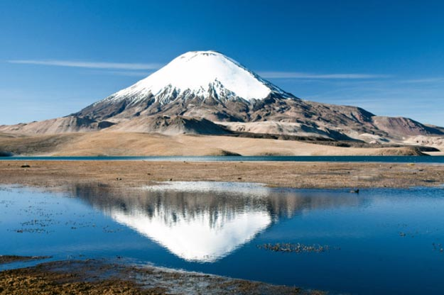 Parinacota, a volcano on the border of Chile and Bolivia.