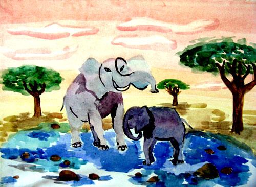 Слоны у озера
