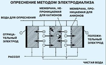 В результате перемещения сквозь мембраны ионов растворенных солей в одной камере собирается обогащенный солью раствор, а в другой вода опресняется.