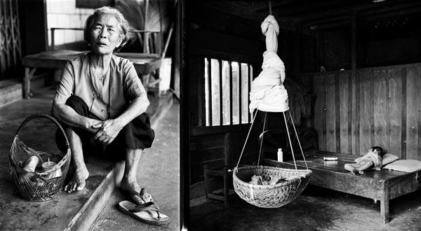 Многие лаосские крестьяне пользуются корзинами и люльками, которые служили еще их бабушкам